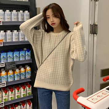 Control to film qiu dong Korean show thin plover grid turtleneck collar soft creep knit sweater coat