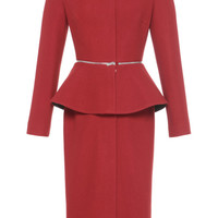 Vika Gazinskaya Fitted Peplum Coat Deep Red
