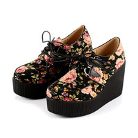 2014 Fashion Flower pattern Handmade Comfortable Lady Lace UP High Heels Flat PlatForm Women's Goth Creepers Punk Wedge Casual Shoes Boots