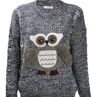 Women's Furry Owl Chunky Textured Yarn Casual Pullover Jumper Animal Sweater