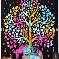 Tie Dye Floral Tapestry, Elephant tree Tapestry, Tie Dye Elephant Tapestry, Good Luck Elephant Tapestry, Bohemian Wall Hanging, Beach Sheet