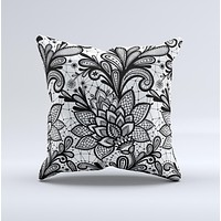 The Black and White Geometric Floral ink-Fuzed Decorative Throw Pillow