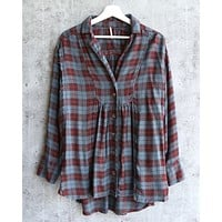 Free People - All About The Feels Plaid Button Down Top - Aubergine