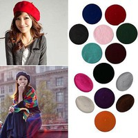Womens Sweet Solid Warm Wool Winter Beret French Artist Beanie Hat Cap Hat Berets