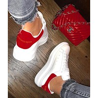 Wearwinds ALEXANDER MCQUEEN Hot Sale Woman Leisure Sport Shoes Sneakers(Velvet Tail) Red