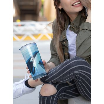 Orca Tumbler With Stainless Steel Straw Skinny Tumbler Watercolor Illustrated Killer Whale Gift Idea Travel Mug Cold Hot Vacuum Lid