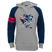 New England Patriots Diamond Etched Hoodie - Girls 7-16, Size: