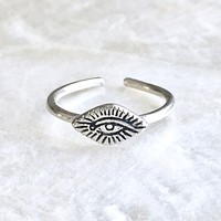 Evil Eye Midi, Toe, Pinky Ring Adjustable