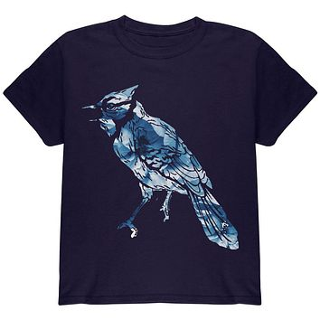 Spring Flowers Blue Jay Bird Youth T Shirt
