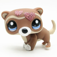 LPS cute toys Lovely Pet shop animal shinning love heart ferret action figure doll