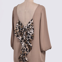 Leopard Bow Back Top