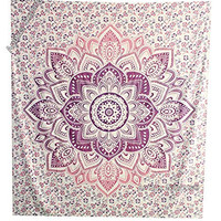 """Amitus Exports ® 1 X Flower Star Ombre 90""""x80"""" Approx. Inches Purple Pink Color Queen Size Cotton Fabric Multi-Purpose Handmade Tapestry Hippy Indian Mandala Throws Bohemian Tapestries"""