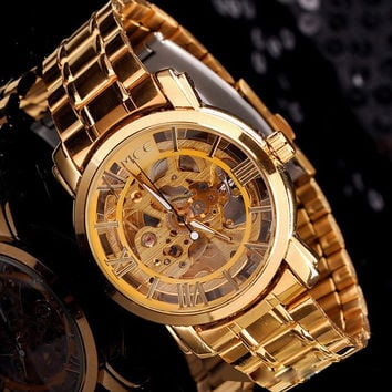 Business Mechanical Watch Classic Mens Watches Top Luxury Gold Dial Mechanical Automatic Self-Winding Hollow Watch Men