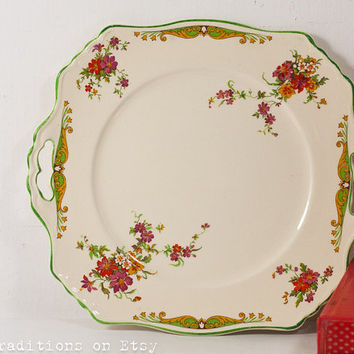 Porcelain Cake Serving Plate: Decorative Floral English Plate / Platter / Tray, Shabby Chic, Marked Bedford Royal Winton Grimwades England