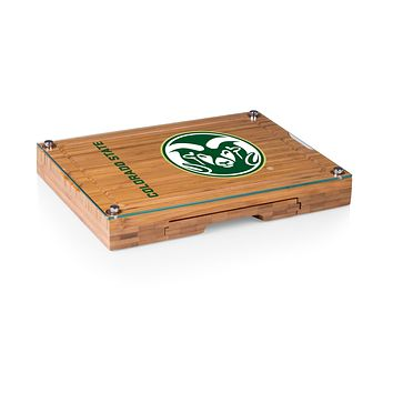 Colorado State Rams - Concerto Glass Top Cheese Cutting Board & Tools Set, (Bamboo)