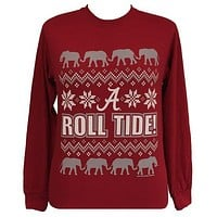 SALE Alabama Crimson Tide Christmas Holiday Girlie Long Sleeve T Shirt