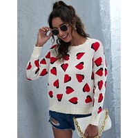 Heart Print Ripped Trim Drop Shoulder Sweater