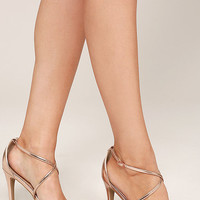 Elegant Night Rose Gold High Heel Sandals