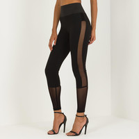 High-Waisted Mesh Panel Legging - Black