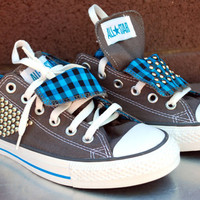grey and teal studded plaid converse