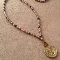 Rhodochrosite and Gray Agate Beaded 108 Bead Mala Necklace with Tibetan Pendant