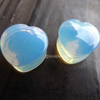 """Opalite Heart Plugs 0g 00g Opal Natural Stone Plug Saddle Double Flared Gauge 2g Pair Moon Stone 1/2"""" Piercing Stretched Earlobe Jewelry 