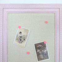 Shabby Ornate Distressed Pink Frame ~ Burlap Push Pin Bulletin Board