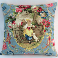"Fragonard Cameo Toile Pillow, Richloom Cornflower Blue, Lady w/ Dog, 17"" Sq. Hot Pink Ticking Stripe, Discontinued French Country Fabric"