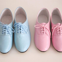 Pony oxfords flats in pastel tones