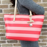 Kate Spade Hawthorne Lane Ryan Tote Handbag Pink Stripes Multi