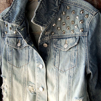 STUDDED denim jacket dip dye ombre bleached festival distressed destroyed trucker upcycled recycled GAP size small 90s grunge