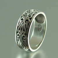 The PRINCE CHARMING 14K white gold mens wedding band by WingedLion