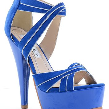 Criss-cross Multi Glitter Stiletto Heels Platform Sandals Black or Blue