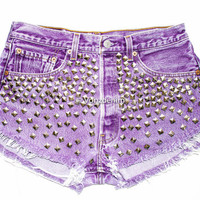 Studded Shorts, High Waisted Studded Vintage Denim Shorts, High Rised Frayed Denim Shorts, Coachella Fashion, Purple Denim Shorts