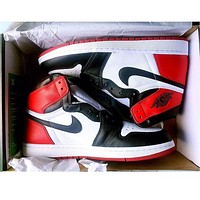 Nike Air Jordan Retro 1 Red white Contrast Sports shoes