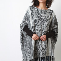 Tribal Diamond Knit Dolman Sweater Top