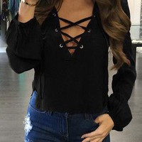 Women Sexy V Neck Blouse Lace Up Causal Long Sleeve Shirt Women Hollow out Strappy Front Blouses Ladies Tops Blouse