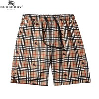 BURBERRY Fashionable Men Women Loose Plaid Print Sport Running Beach Shorts