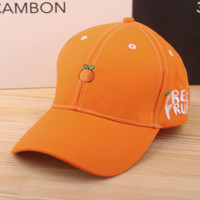 Orange Embroidered Baseball Cap Hat