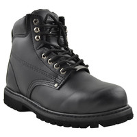 Mens Boots Oil Resistant Steel Toe Leather Work Hiking Padded Shoes Black