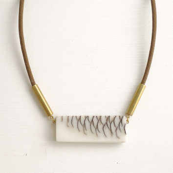 Bio resin and pinecone long necklace, brown cord SPECIAL