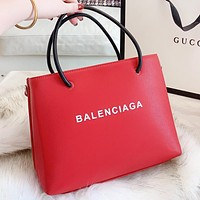Balenciaga New fashion letter print leather shoulder bag crossbody bag handbag Red