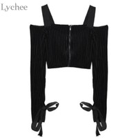 Lychee Spring Autumn Sexy Women Crop Top Lace Up Bow Tie  Zipper Long Sleeve Velvet T Shirt Tee Top