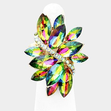 """1.50"""" gold iridescent cluster crystal stretch ring birdal prom"""