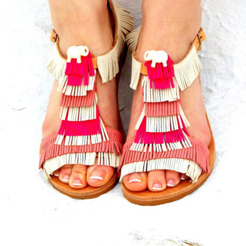 """Pink &White Leather Sandals, Greek Sandals, white elephant shoes, barefoot sandals, """"Amelie"""""""