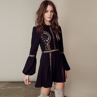 Elegant Lantern Sleeve Crochet Mini Dress