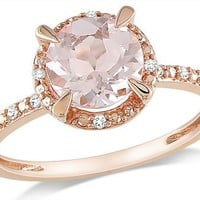 10k Rose Gold Morganite and Accent Diamond Ring (0.05 Cttw, G-H Color, I1-I2 Clarity)