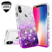 Apple iPhone XS Max Case Liquid Glitter Phone Case Waterfall Floating Quicksand Bling Sparkle Cute Protective Girls Women Cover for iPhone XS Max - Purple
