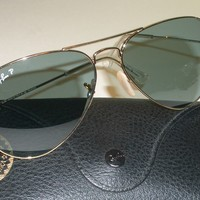 Cheap 58[]14mm RAY BAN RB3025 001/3R GOLDEN BLUE POLARIZED GLASS AVIATORS SUNGLASSES outlet