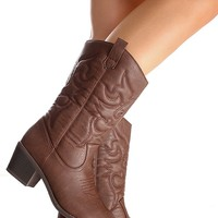 BROWN FAUX LEATHER MATERIAL STITCHED DESIGN CASUAL KNEE HIGH COWBOY BOOTS